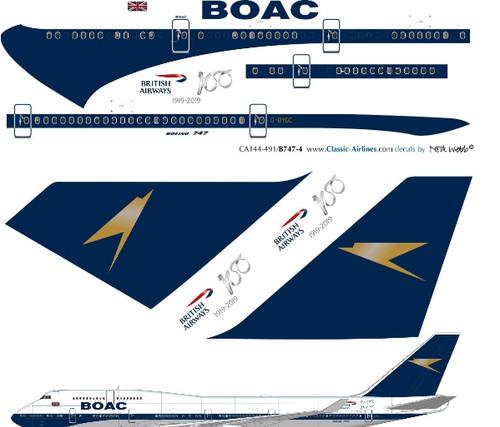 1/144 Scale Decal British Airways 747-400 BOAC Retro