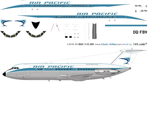 1/144 Scale Decal Air Pacific BAC-111 DELIVERY
