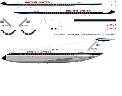 1/144 Scale Decal British United BAC-111 DELIVERY