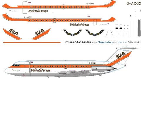1/144 Scale Decal BIA - British Island Airways BAC-111
