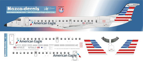 1/144 Scale Decal American Eagle ERJ-145