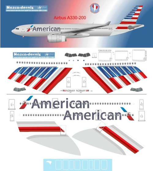 1/144 Scale Decal American A330-200