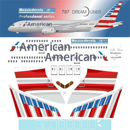 1/144 Scale Decal American 787-8