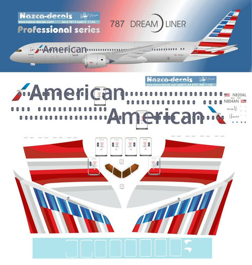 1/144 Scale Decal American 787-9