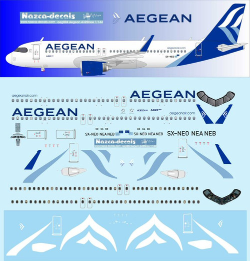 1/144 Scale Decal Aegean A-320 NEO
