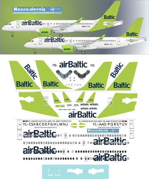 1/144 Scale Decal Air Baltic A-220 New & Old
