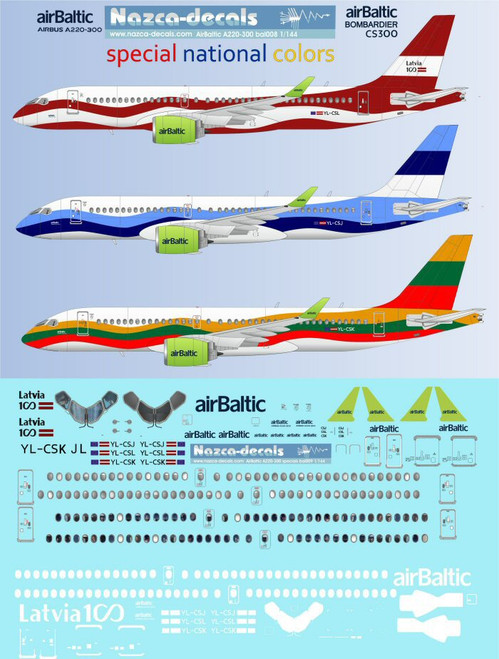 1/144 Scale Decal Air Baltic A-220 Special National Colors