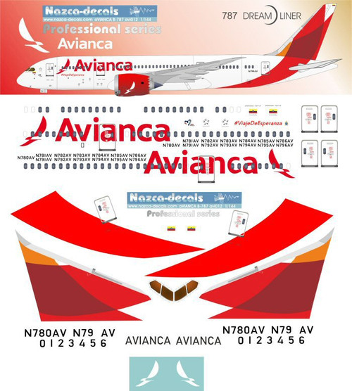 1/144 Scale Decal Avianca 787-8