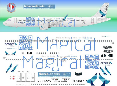 1/144 Scale Decal Azores A-321 logo Jet MAGICAL