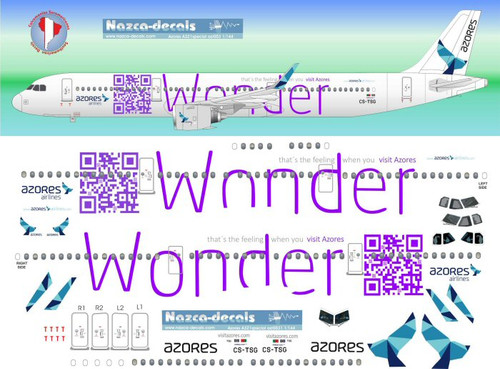 1/144 Scale Decal Azores A-321 logo Jet WONDER