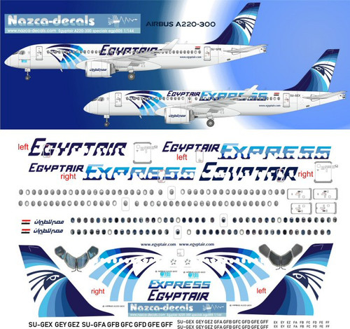 1/144 Scale Decal Egyptair A-220