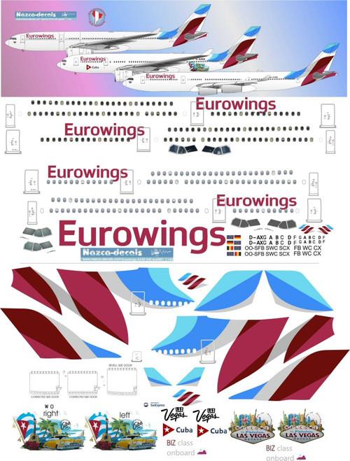 1/144 Scale Decal Eurowings A-330 / A-340 CUBA & LAS VEGAS