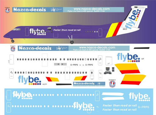 1/144 Scale Decal flybe DASH-8-400 PURPLE