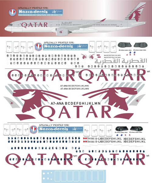 1/144 Scale Decal Qatar Airways A350-1000