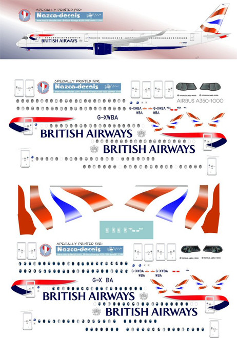 1/144 Scale Decal British Airways A350-1000