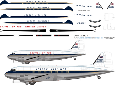 1/144 Scale Decal Jersey Airlines / British United DC-3