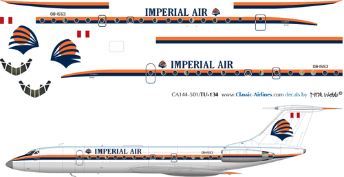 1/144 Scale Decal Imperial Air TU-134