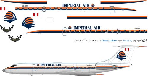 1/144 Scale Decal Imperial Air TU-134