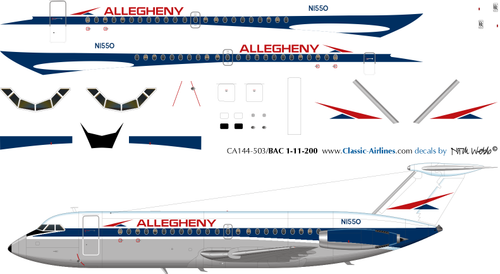 1/144 Scale Decal Allegheny BAC 111-200