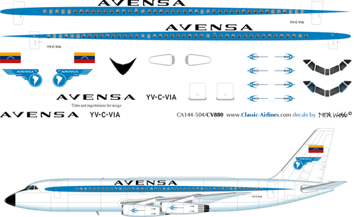 1/144 Scale Decal Avensa CV 880
