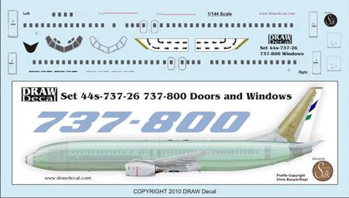 1/144 Scale Decal Detail Sheet 737-800