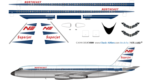 1/144 Scale Decal Northeast CV 880