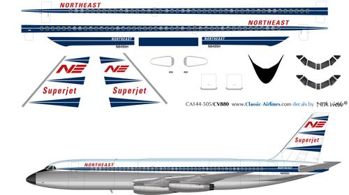 1/144 Scale Decal Northeast CV 880