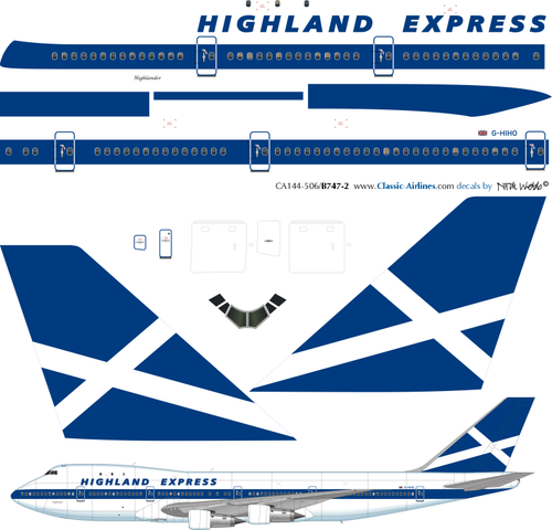 1/144 Scale Decal Highland Express 747-200