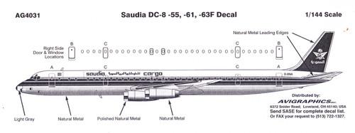 1/144 Scale Decal Saudia DC8-55 / 61 / 63F