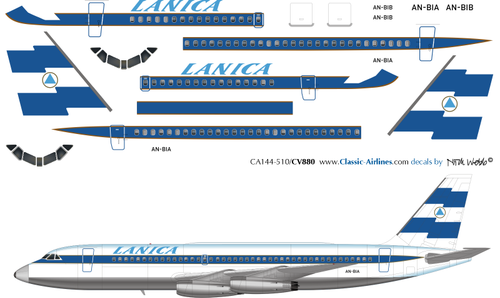 1/144 Scale Decal Lanica CV 880