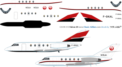 1/144 Scale Decal JAL - Japan Air Lines Falcon 20