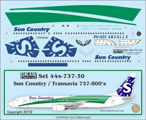 1/144 Scale Decal Sun Country / Transavia 737-800