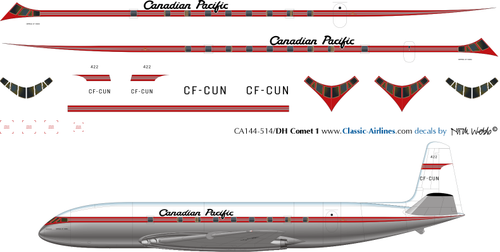 1/144 Scale Decal Canadian Pacific Comet