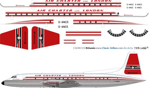 1/144 Scale Decal Air Charter London Ltd Britannia