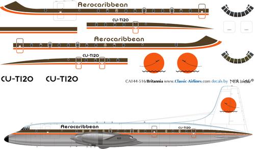 1/144 Scale Decal Aerocaribbean Britannia