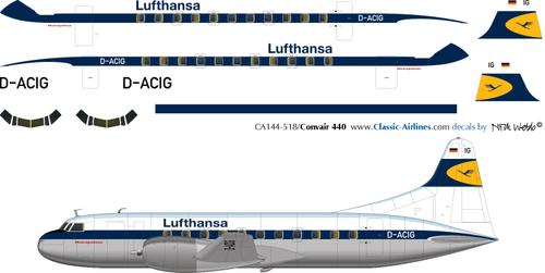 1/144 Scale Decal Lufthansa Convair 340
