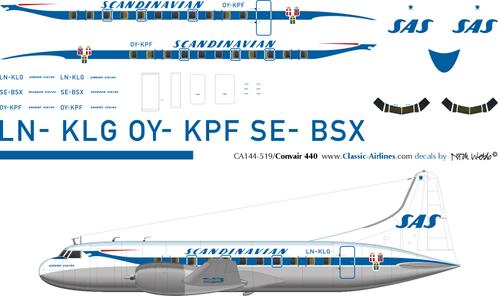 1/144 Scale Decal SAS Convair 440