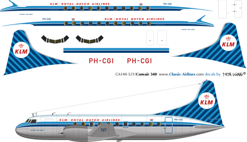 1/144 Scale Decal KLM Convair 340