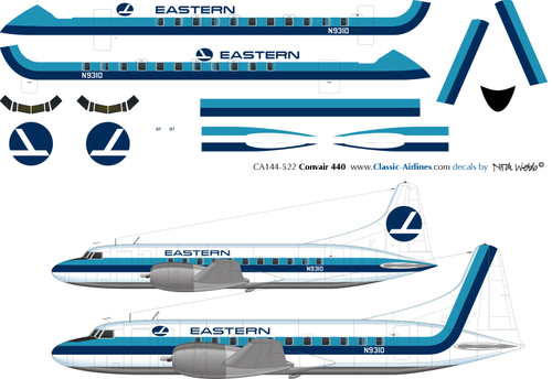 1/144 Scale Decal Eastern Convair 440 2 Choices