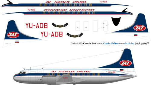 1/144 Scale Decal JAT Convair 340