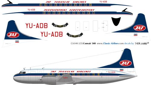 1/144 Scale Decal JAT Convair 340