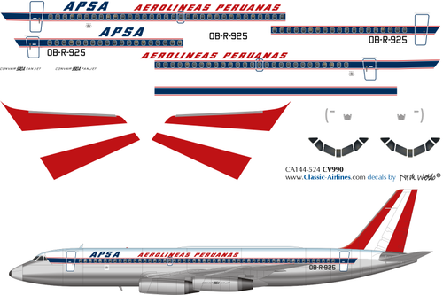 1/144 Scale Decal APSA Convair 990