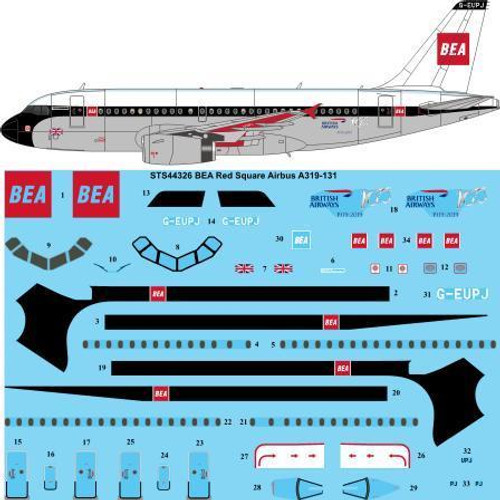 1/144 Scale Decal BEA Red Square Airbus A319-131