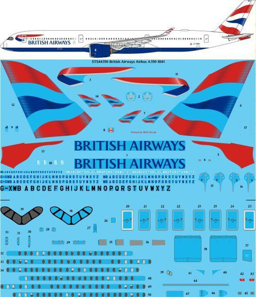1/144 Scale Decal British Airways Airbus A350-1041