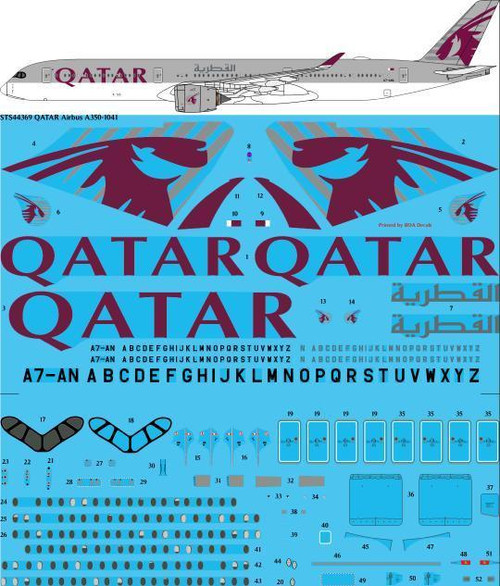 1/144 Scale Decal Qatar Airways Airbus A350-1041