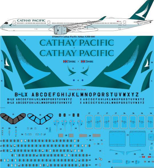 1/144 Scale Decal Cathay Pacific Airbus A350-1041