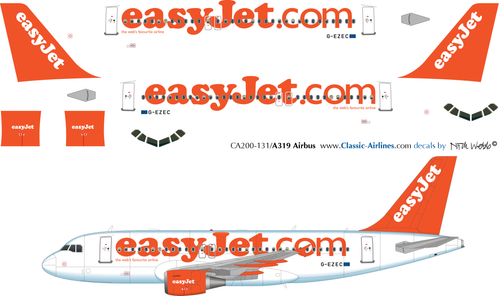 1/200 Scale Decal easyJet A-319