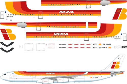 1/200 Scale Decal Iberia A-340