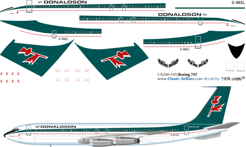 1/200 Scale Decal Donaldson 707