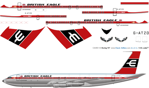 1/200 Scale Decal British Eagle 707